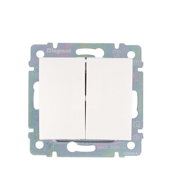 Механизм переключателя двухклавишного Legrand Valena с/у белый выключатель legrand quteo 10а 1 клавиша белый 782300