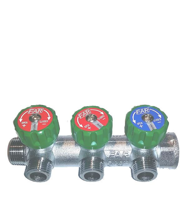 Коллектор 3/4 внутр(г) х 3 отвода 1/2  нар(ш)х 3/4  нар(ш) регулируемый FAR коллектор gf 3 4 внутр г х 4 отвода 1 2 нар ш х 3 4 нар ш регулируемый