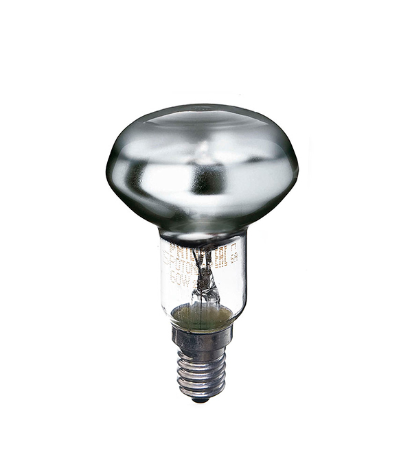 Лампа накаливания E14, 60W, R50 (рефлектор), зеркальная, Philips, Spotline
