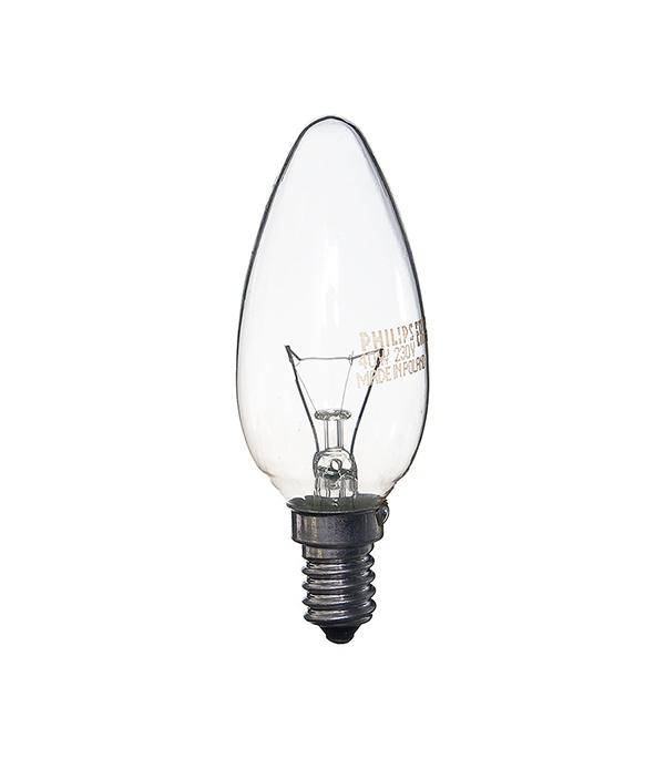 Лампа накаливания E14, 40W, В35 (свеча), CL (прозрачная) Philips