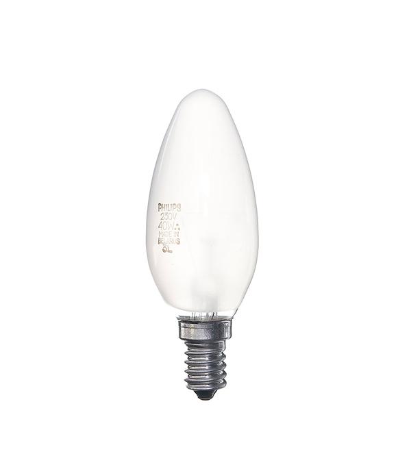 Лампа накаливания E14, 40W, В35 (свеча), FR (матовая) Philips