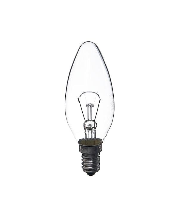 Лампа накаливания E14, 60W, В35 (свеча), CL (прозрачная) Philips