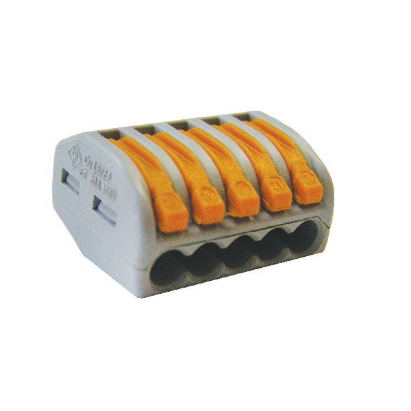Зажим (клемма) на 5 провода СК-415 (0,1-2,5 мм.кв) без пасты, (5 шт), TDM