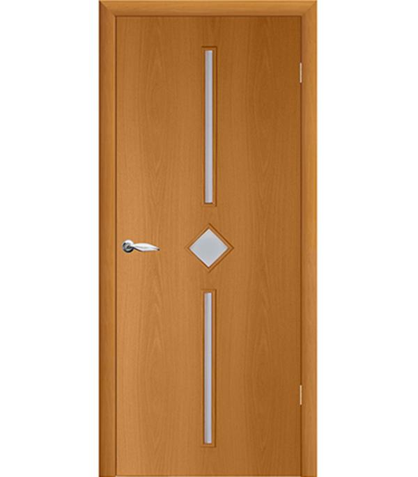 Дверное полотно ламинированное гладкое Кристалл Миланский орех 600х2000 мм, со стеклом