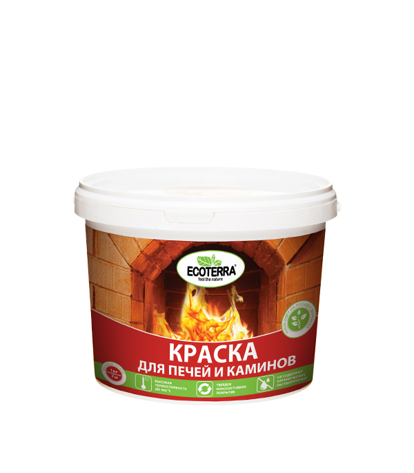 Краска для печей Ecoterra белая 1 кг