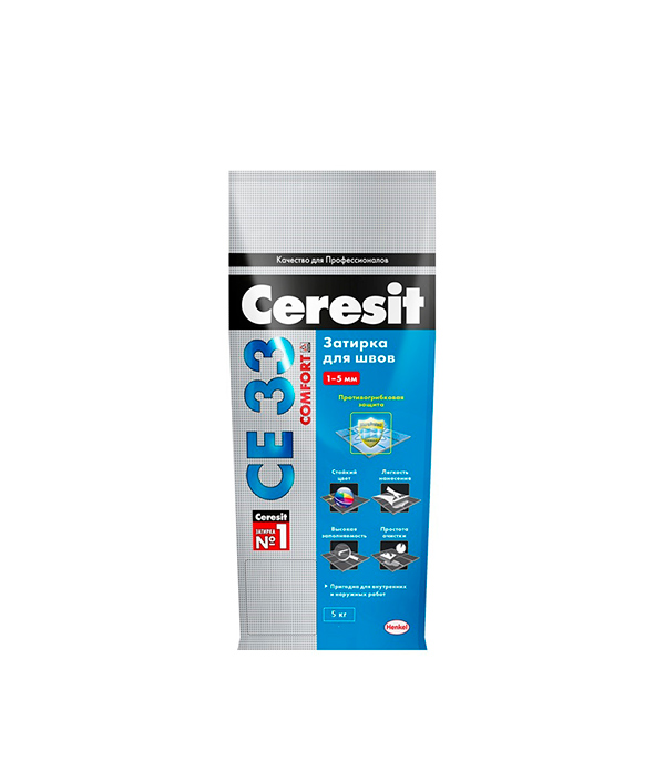 Затирка Ceresit СЕ 33 №43 багама бежевый 5 кг затирка д швов ceresit се 43 высокопрочная багама