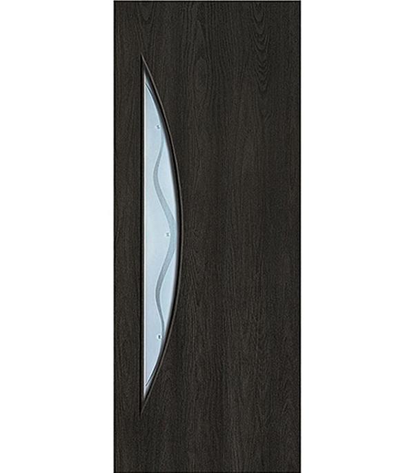 Дверное полотно с 3D покрытием Луна Седой венге 600х2000 мм, со стеклом