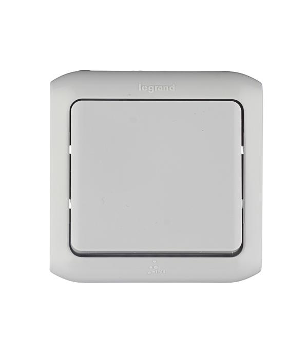 Выключатель одноклавишный Legrand Quteo о/у влагозащищенный IP44 серый выключатель 2 клавишный наружный ip44 белый 10а quteo