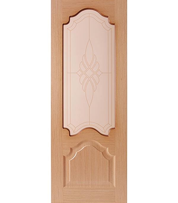 Дверное полотно  ДПО  Венеция шпонированное Светлый дуб  800 x 2000 мм без притвора со стеклом