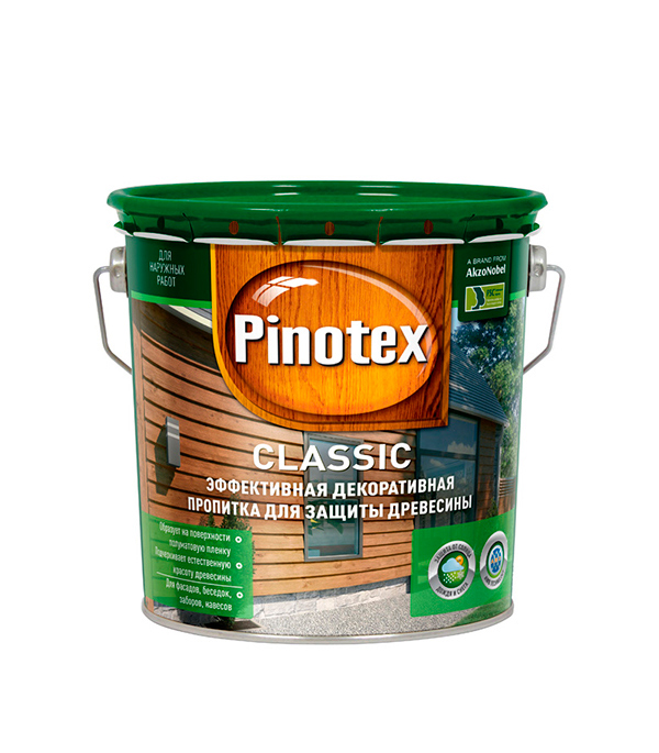 Декоративно-защитная пропитка для древесины Pinotex Classic тик 2.7 л