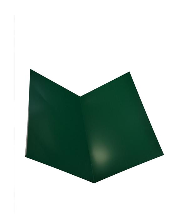 Ендова внутренняя для металлочерепицы зеленая RAL 6005 200х200 мм 2 м  планка карнизная для металлочерепицы 80х100 мм 2м зеленая ral 6005