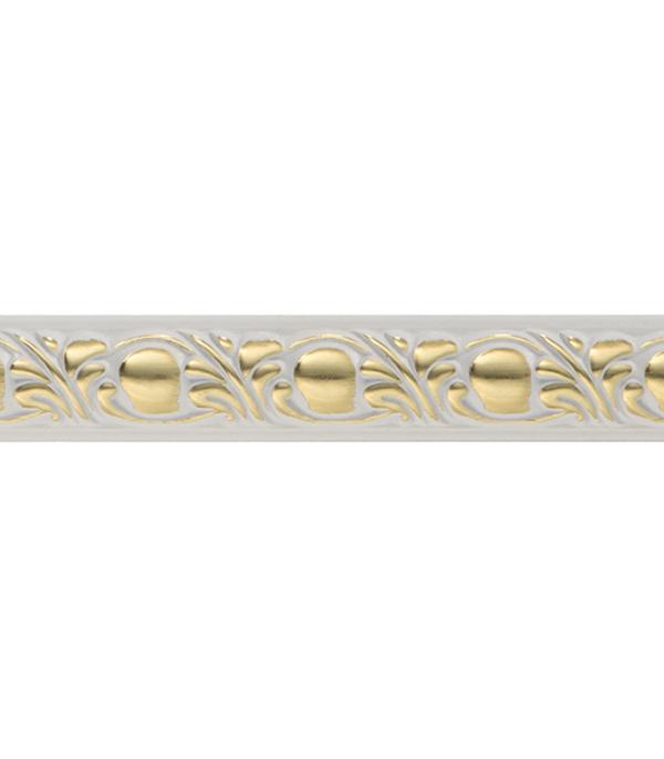 Плинтус (молдинг) 15х8х2400 мм Decomaster белый с золотом