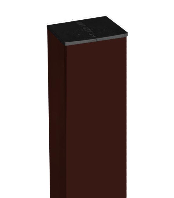 Столб заборный 62х55мм 2,5м коричневый RAL 8017