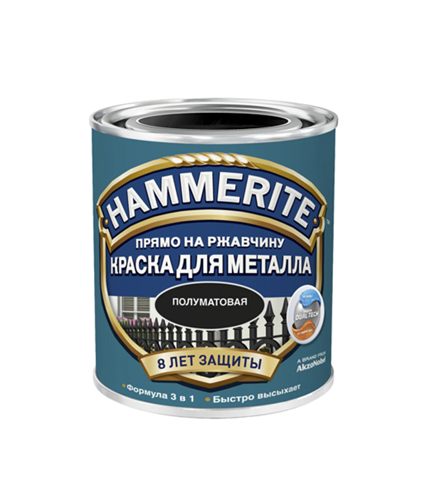 Грунт-эмаль по ржавчине 3 в1 Hammerite полуматовая белая 250 мл