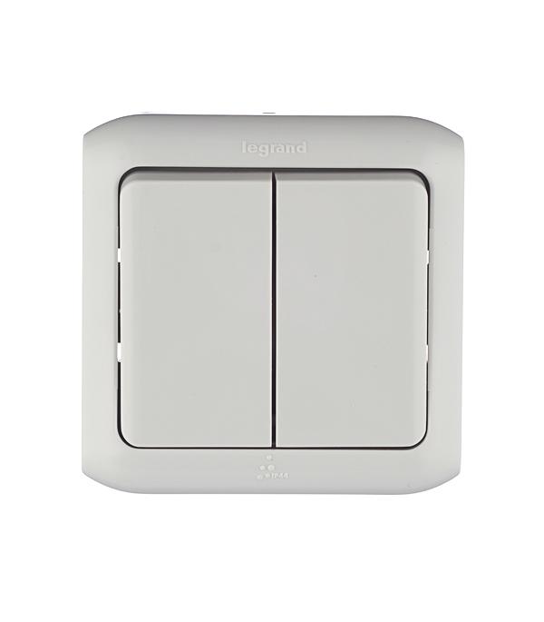 Переключатель двухклавишный Legrand Quteo о/у влагозащищенный IP44 серый выключатель 2 клавишный наружный ip44 белый 10а quteo