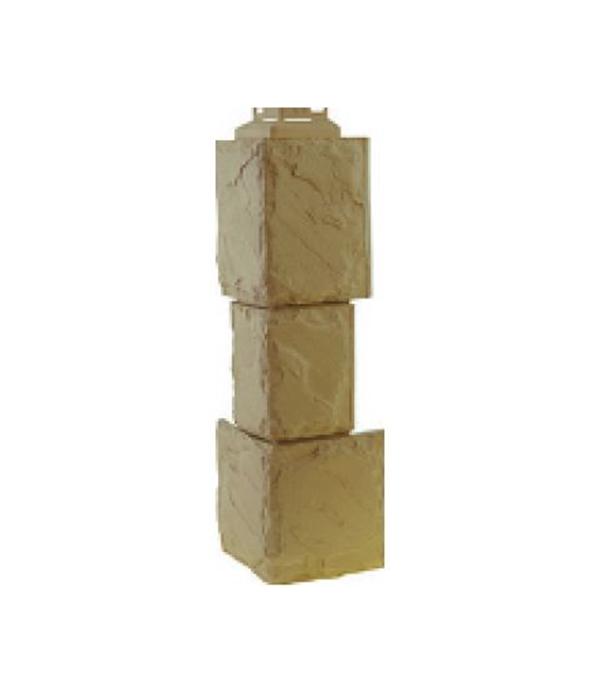 Фасадный угол наружный FineBer Дачный  мм Камень крупный бежевый