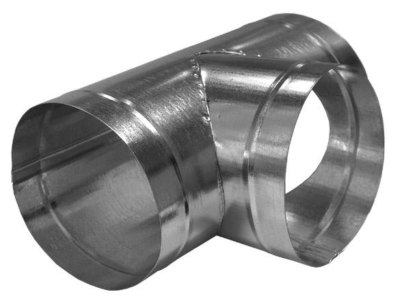 Тройник для круглых воздуховодов оцинкованный d160 мм, 90°