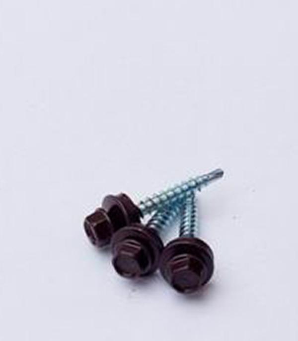 Саморезы кровельные с буром 35х4,8 мм коричневые RAL 8017 (250 шт)