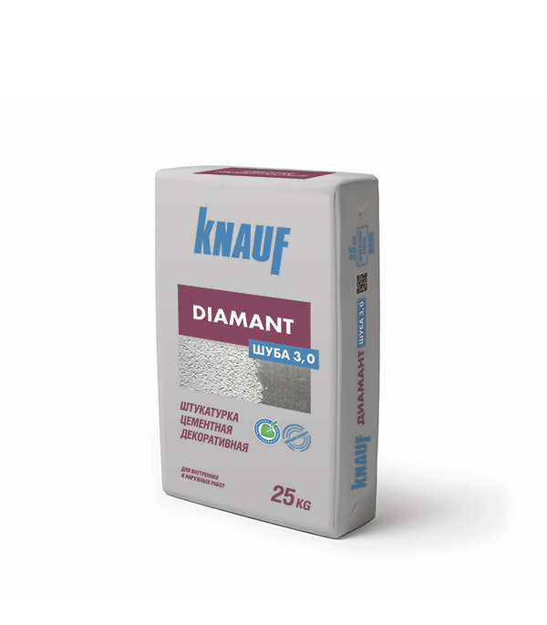 Штукатурка декоративная шуба Knauf Диамант фракция 3 мм белая 25 кг штукатурка цементная фасадная knauf унтерпутц 25 кг