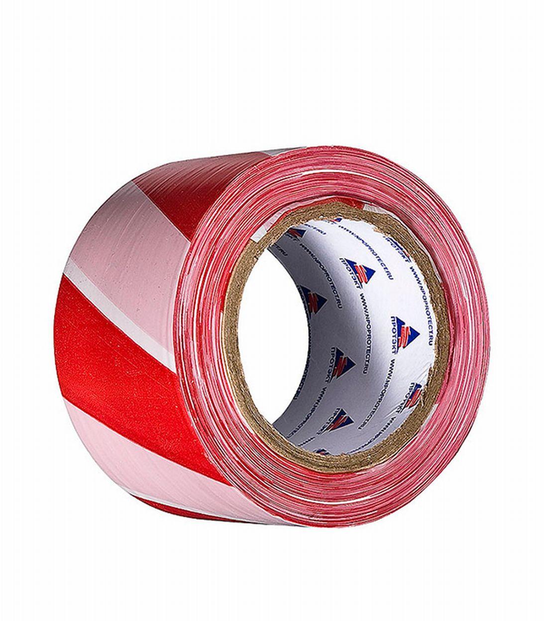 Лента сигнальная красно-белая 75 ммх200 м