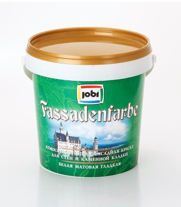 Краска в/д фасадная белая матовая акриловая JOBI FassadenFarbe 0,9 л