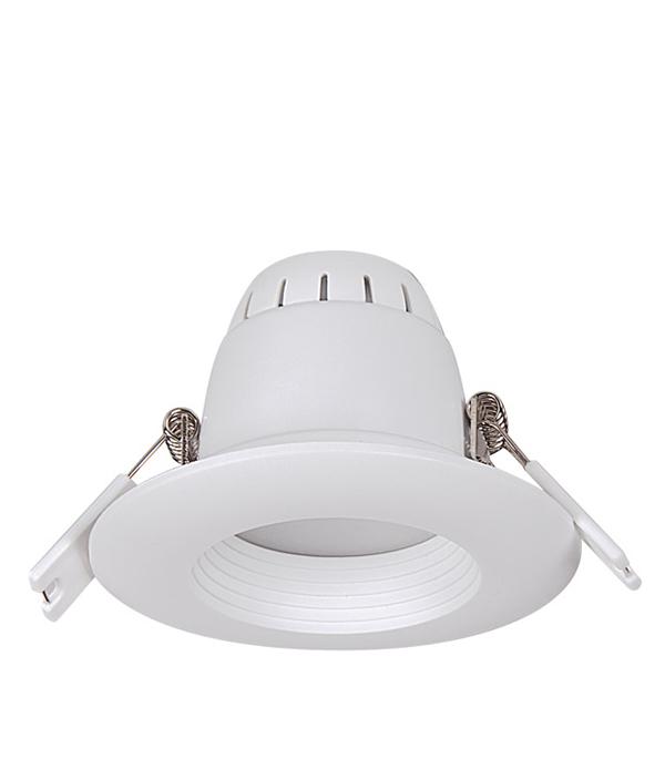 Светильник встраиваемый светодиодный  6 Вт круглый белый, IP40, 4000K (холодный свет), белый