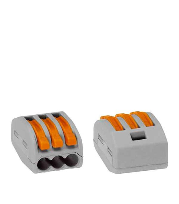 Зажим (клемма) на 3 провода с рычажком (0,08-2,5 мм.кв), (50 шт), Wago
