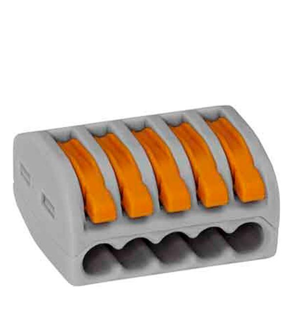 Зажим (клемма) на 5 проводов с рычажком (0,08-2,5 мм.кв), (40 шт), Wago