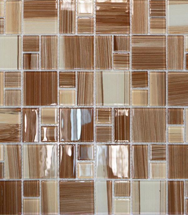 Мозаика стеклянная 327х327х4 мм бежевый полосатый микс на сетке (10 шт = 1,07 кв.м)