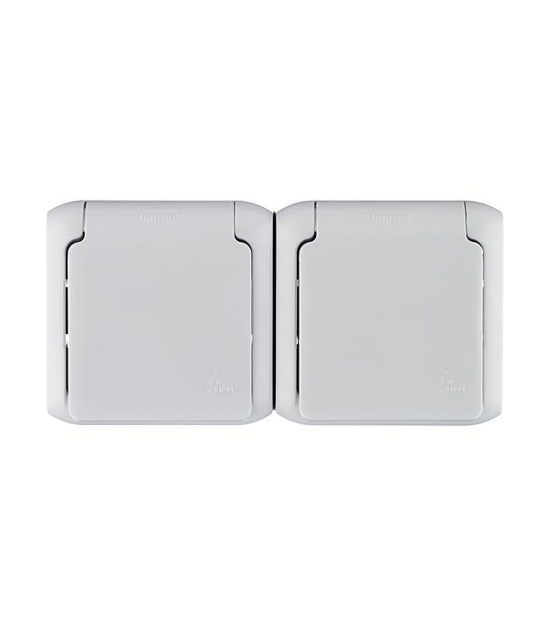 Розетка двойная Legrand Quteo о/у с заземлением с крышкой влагозащищенная IP44 со шторками серый выключатель 2 клавишный наружный ip44 белый 10а quteo