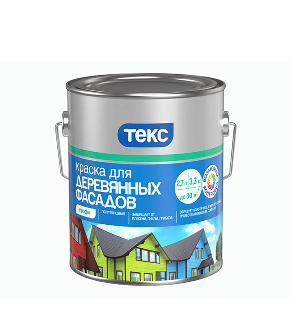 Фасадная краска по дереву Текс Профи основа D 2.7 л
