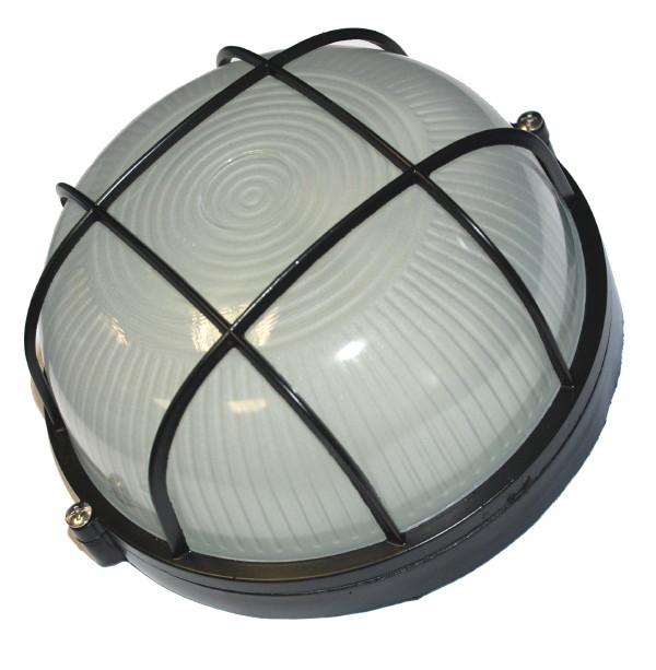 Светильник НПБ 60 Вт круглый с решеткой влагозащищенный (IP 54),черный