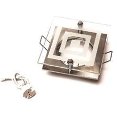 Светильник встраиваемый квадратный со стеклом хром матовый 1х50W (MR16,12В), IP20, WL-180/1