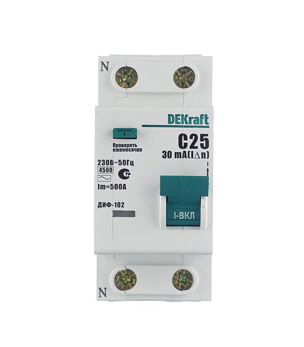 Автомат дифференциальный  1P+N, 25А, тип АC, 30мА, 4,5кА, Dekraft ДИФ-102 дифференциальный автомат 1p n 25а тип c 30 ма 4 5 ka abb dsh941r