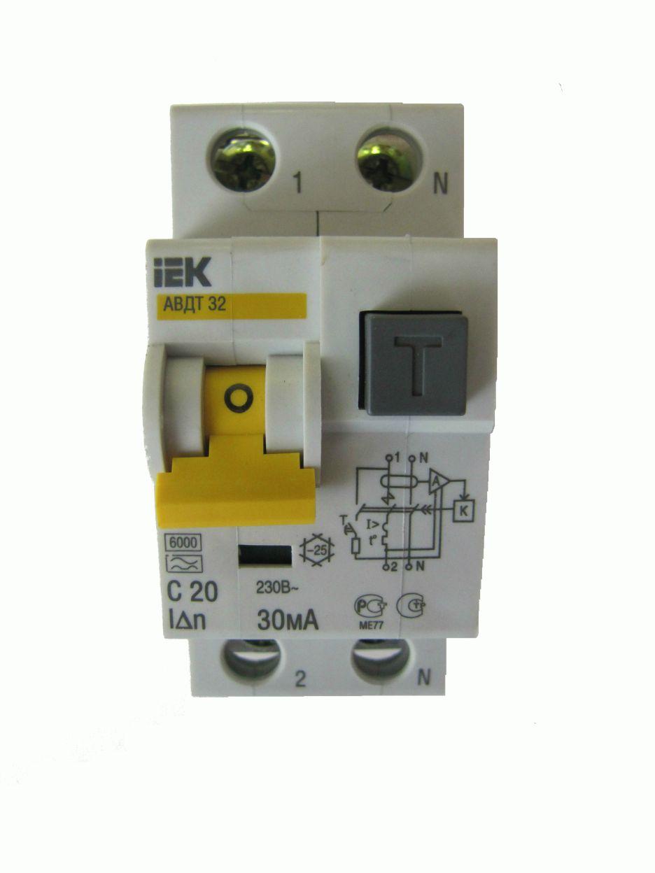 Автомат дифференциальный 1P+N, 20А, тип C, 30мА, 6kA, ИЭК, АВДТ 32
