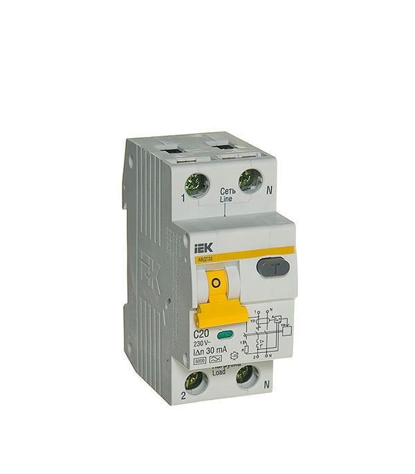 Дифференциальный автомат 1P+N 20А тип C 30 мА 6 kA IEK АВДТ 32 дифференциальный автомат 1p n 25а тип c 30 ма 4 5 ka abb dsh941r