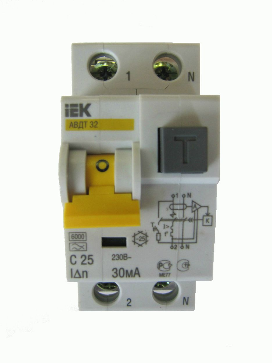 Автомат дифференциальный 1P+N, 25А, тип C, 30мА, 6kA, ИЭК, АВДТ 32