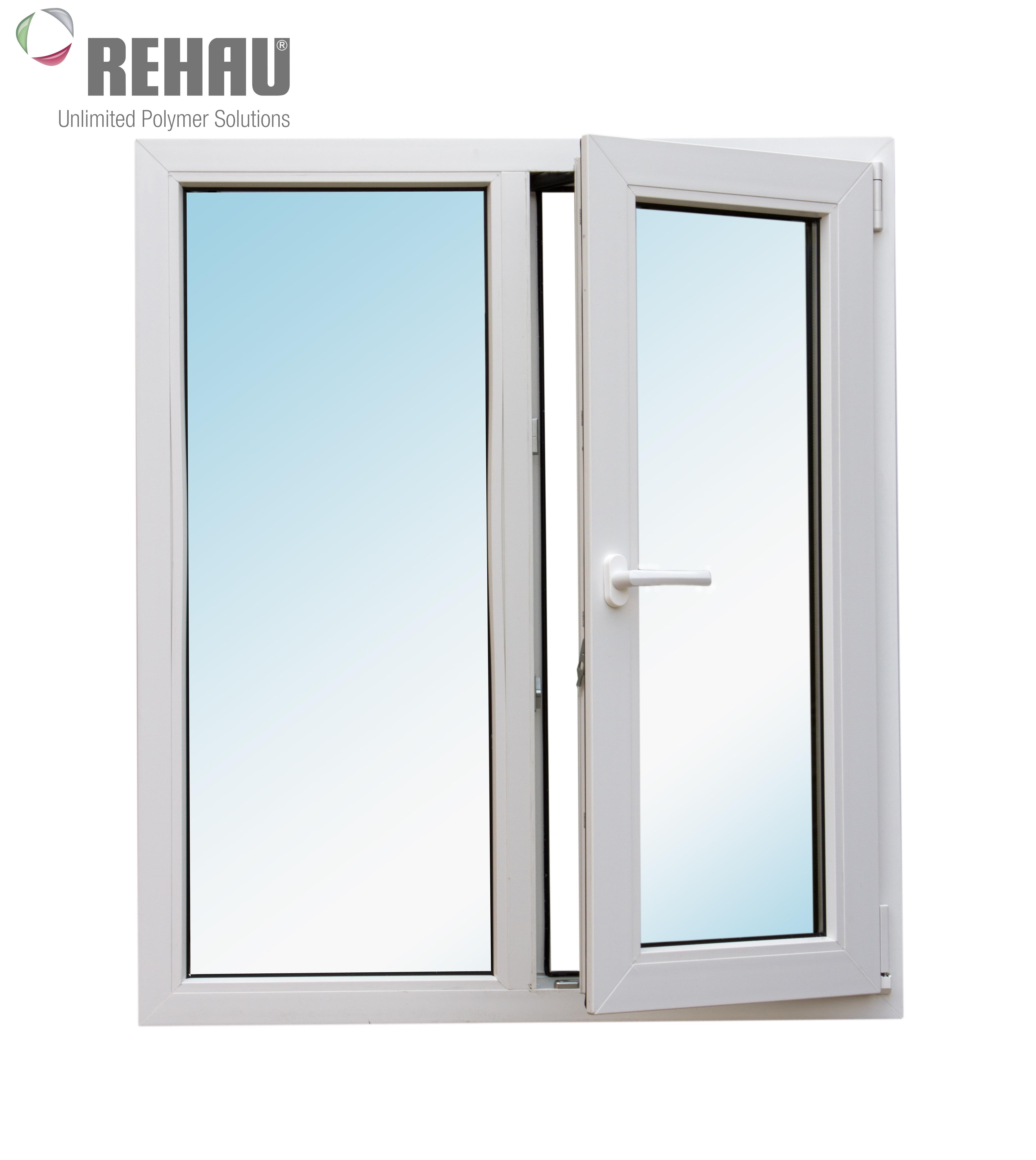 Окно металлопластиковое белое  Rehau Blitz  1160х1000 мм поворотно - откидное правое