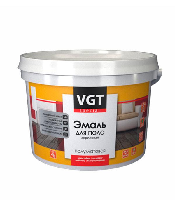 Эмаль для пола VGT акриловая серая 2,5 кг эмаль акриловая лакра для пола золотисто кор 2 4кг