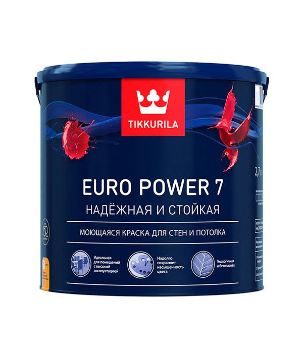 Краска в/д Tikkurila Euro Power 7 латексная основа С матовая 2.7 л цена и фото