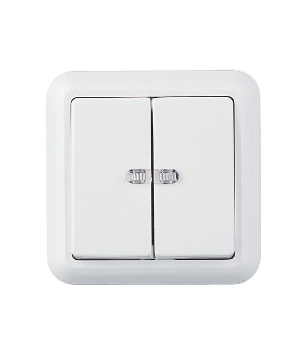 Выключатель двухклавишный Оптима о/у с подсветкой белый с монтажной пластиной 250В 10А выключатель двухклавишный наружный бежевый 10а quteo
