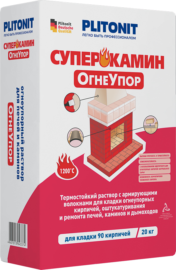 Плитонит СуперКамин ОгнеУпор (раствор для кладки и оштукатуривания печей и каминов), 20кг