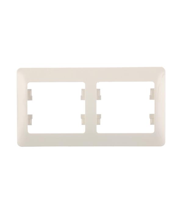 Рамка двухместная Schneider Electric Glossa бежевая механизм выключателя schneider electric glossa белый 1 клавишный с подсветкой gsl000113