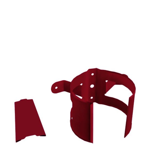 Кронштейн хомут трубы на деревянную стену Grand Line d90 мм красное вино металлический угол желоба внутренний grand line 125 90° красное вино металлический
