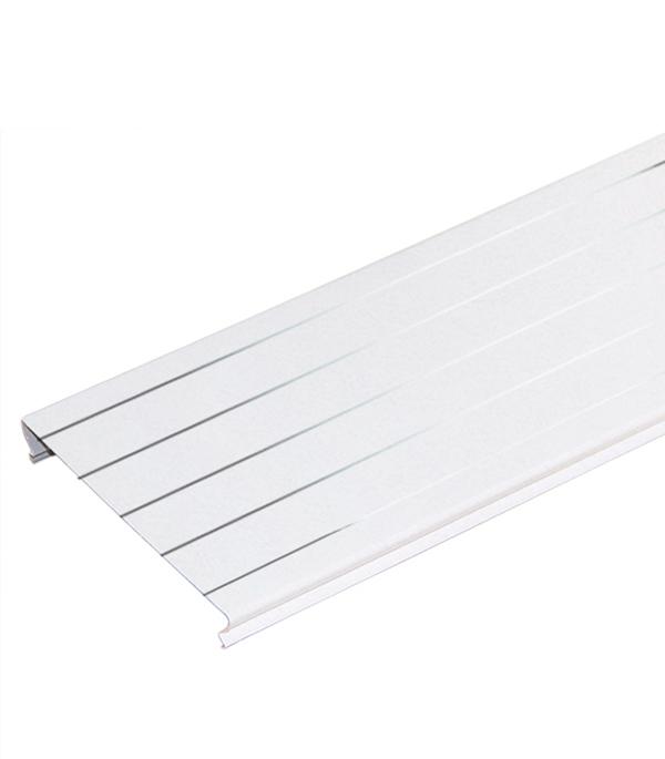 Рейка сплошная S-дизайн Албес A100AS  3 м белый жемчуг с металл.полосой