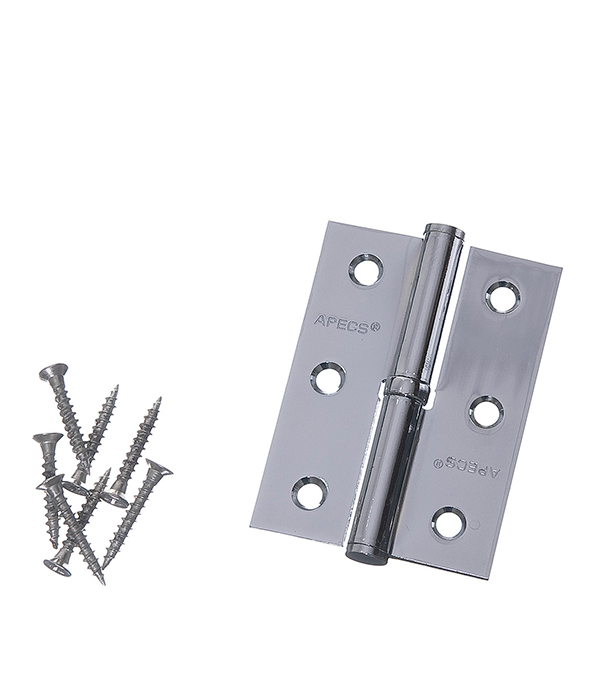 Петля левая Apecs B-STEEL-CR-L хром 80х60 мм дверная задвижка apecs l 0260 cr 00016890