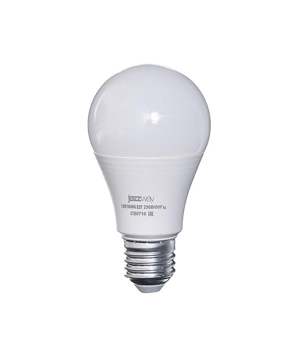 Лампа светодиодная E27, 12W, A60 (груша), 5000K (холодный свет), Jazzway