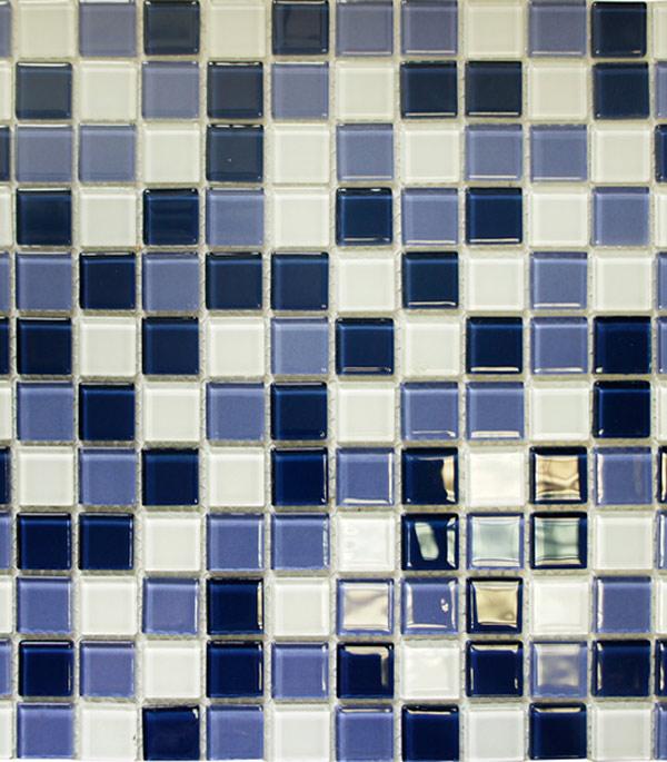 Мозаика стеклянная 327х327х4 мм ультрамариновый микс на сетке (10 шт = 1,07 кв.м)