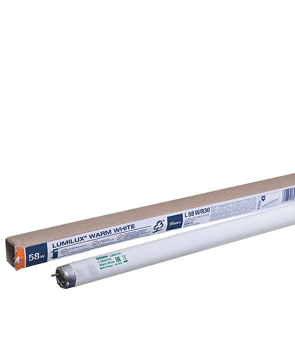 Лампа люминесцентная 58W/830 (теплый свет), d26 (Т8), G13, 1500 мм, Osram, Lumilux