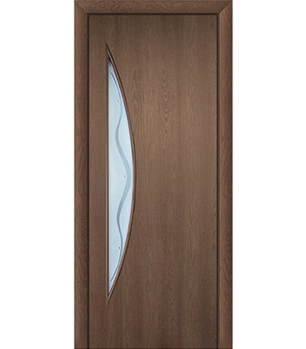 Дверное полотно с 3D покрытием Луна Каштан 600х2000 мм, со стеклом